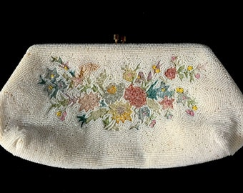 Antique E. Grillot Hand-Beaded Clutch/Wedding Clutch/Prom Clutch/Formal Purse/Vintage French/Handbag