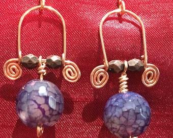 Purple, swirled handmade earrings