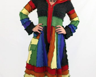 SPRING SALE Gray Rainbow-Upcycled Sweater Coat, Size Small