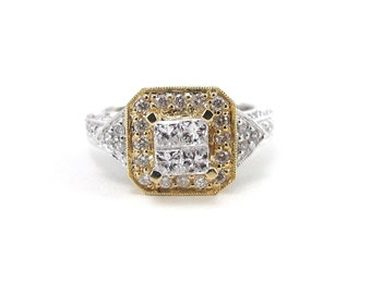 Diamond Engagement Ring 14K Yellow And White Gold 1.25 carats