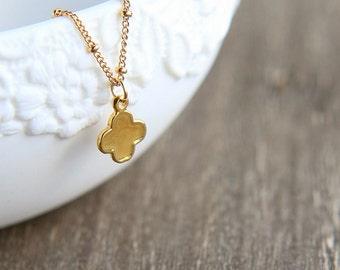 SALE, Gold Clover Necklace, Clover Necklace, Tiny Clover Necklace, Four Leaf Clover Necklace, Flower Necklace, Dainty Necklace, Gold Jewelry