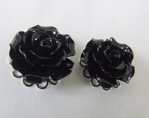 Black Rose Plugs, Black Flower Plugs, Floral Gauges, Cute Ear Stretchers, Prom Plugs, Special Occasion Plugs, Tunnels, Girly Gauges, Gift