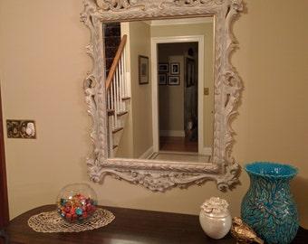Mirror - Wall Mirror - Grey, White, Gold - Very Ornate