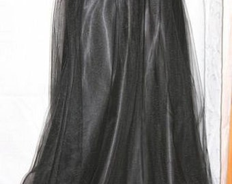 Black Satin Full Length Tutu Skirt, Satin Tulle skirt