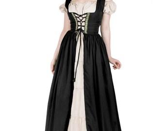 Renaissance Medieval Irish Costume Over Dress & Boho Chemise Set Black L/XL