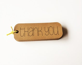 """Kraft Thank You Tags (3"""" wide), Rustic Thank You Favor Tags, All Purpose Thank You Tags"""