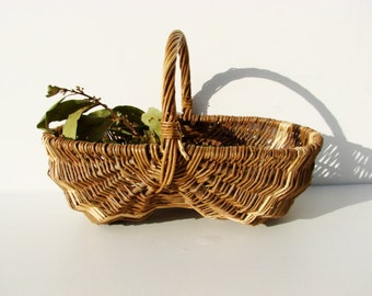 Vintage french woven wicker basket