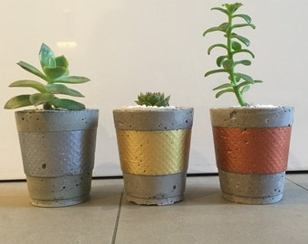 Metallic Concrete Planters