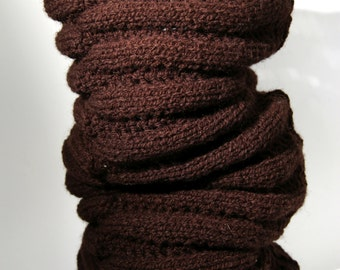 Brown hand knitted chimney neck warmer