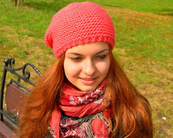 Women's Knit Hat Warm Winter Hat Womens Beanie Knit Slouchy Hat  Woman Wool Slouchy Hat Chunky Knitted Hat