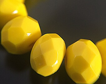 10 Bright Yellow Rondelle Beads, Sunflower Yellow Czech Glass Beads, Faceted Glass Donut Beads, 8x6mm (RON-28)