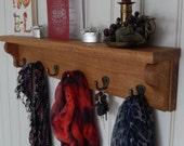 Coat Rack with Shelf Oak Wall Shelf Iron Hooks Entryway Storage Shelf Key Shelf Mug Rack Wall Coat Rack Entryway Organiser Gift