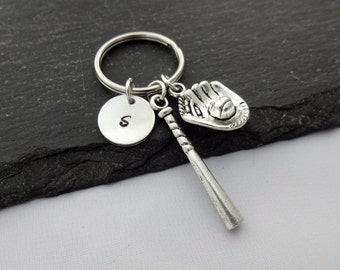 Baseball Keyring, Initial Baseball Keyring, Baseball Keychain, Baseball Player, Base Ball, Hand Stamped, Baseball Gifts, Personalised,Sports