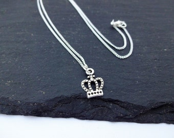 Crown Necklace, Charm Necklace, Silver Plated Chain, Crown Jewellery,  Crown Gift, Chain Necklace