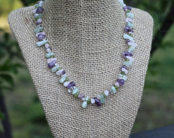 Aquamarine, Amethyst, Citrine, Peridot, and Rose Quartz Necklace | Multi Gemstone Teardrop Collar | Pastel and Sterling Silver Necklace