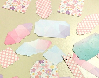 20 pcs. Assorted tags and labels. Die cuts, scrapbooking