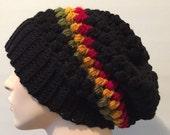 Rasta beanie hat // Rasta slouch beanie hat // Rasta slouchy beanie hat // crochet Rasta beanie hat // mens womens