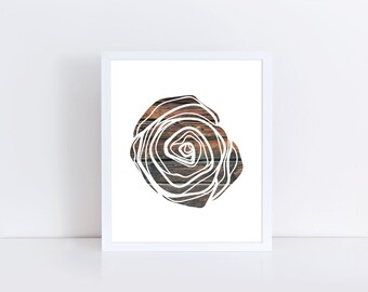 Rose Print, Wooden Rose, Wood Nursery Decor, Abstract Art, Valentine's Day Gift, Wood Rose Print, Instant Download, Gift for Him