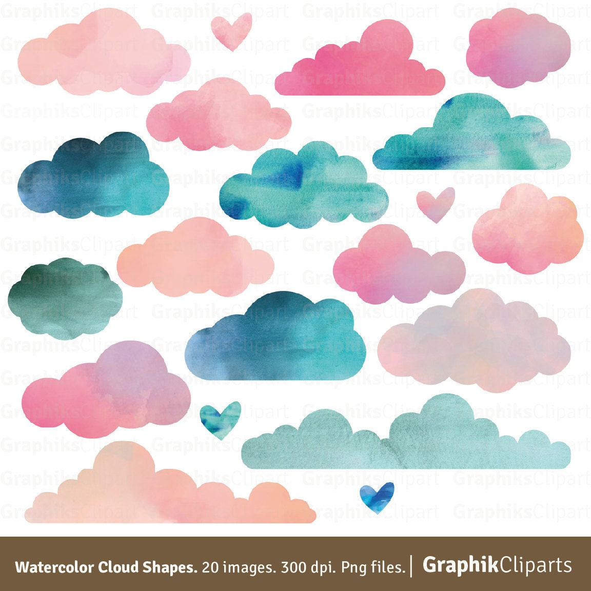 Watercolor Clouds Shapes Clouds Clip Art Baby Shower