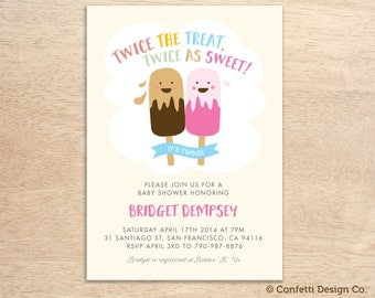 Twins Baby Shower Invitation - Twins - Gender Neutral - DIY printing