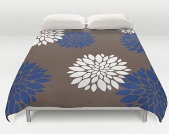 Brown Duvet Cover, Flower Bed Cover, Blue Brown Bedding, Mandala Comforter, Modern Duvet Cover, Brown Bedspread, King Queen Full Twin, Size