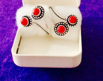 Sterling Silver Doubled Arched Coral Adj. Ring, Size 9 adjusts up to 10,10.5