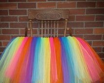Beautiful Highchair Tutu, Highchair Banner, Table Tutu, Birthday Banner, Birthday Party Decor, Rainbow Tutu Banner, Personalize Banner