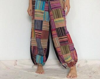 CLEARANCE SALE USD20.- Colorful Strip patterned Patchwork Harem Pants  (HR-215)