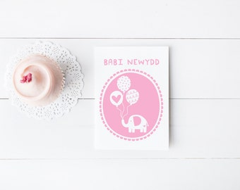 Welsh New Baby Card - Welsh Baby Girl Card - Welsh Language Card - Welsh New Baby
