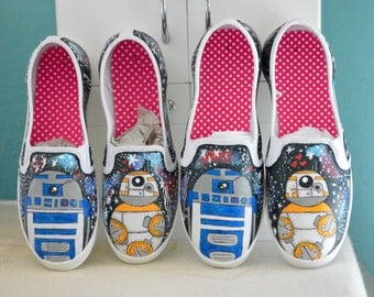 Hand painted STAR WARS BB-8 and R2-D2 slip on canvas shoes