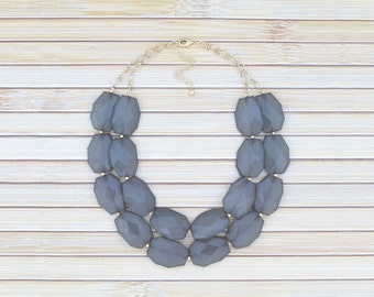 Gray Bib Necklace, Grey Layered 2 Two Double Strand Chunky Beaded Necklace, Large Bold Collar Choker Necklace, Big Colorful Fashion Jewelry