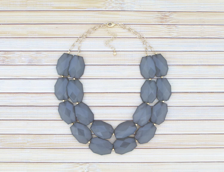 gray bib necklace grey layered 2 two strand chunky