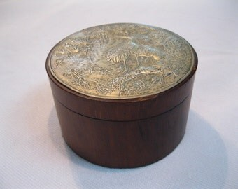 Hardwood Decorative Jewelry / Trinket Box with Asian Bird Motif Tin Lid