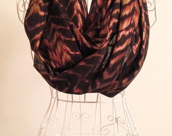 Handmade Gold and Red Foil Animal Infinity Scarf, Circle Scarf