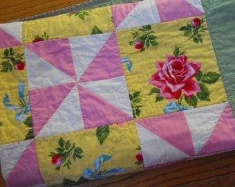 victorain quilt, cottage chic, gift for her, patchwork quilt, pinwheel quilt, pink white and yellow quilt, bed throw, chair throw, handmade