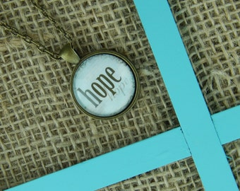 Hope round glass pendant antique bronze necklace