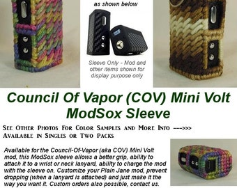 "Council Of Vapor (COV) Mini Volt ""ModSox"" **SET OF 2** Sleeve wrap case holder holster pouch glove cover custom handmade"