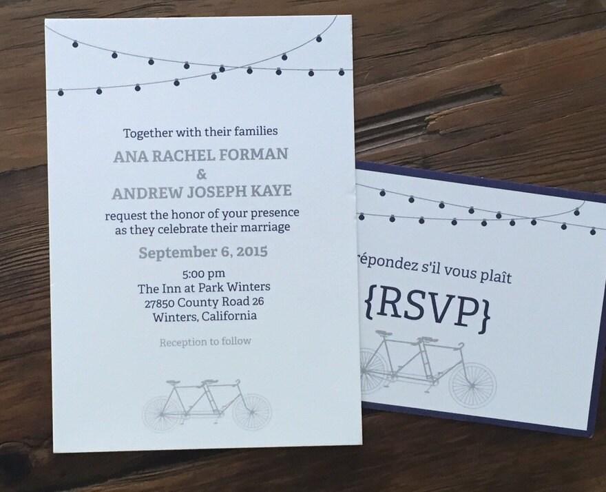 Tandem Bike Wedding Invitations: Tandem Bike Wedding Invitation Wedding Invitation Tandem