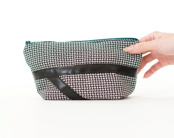 black and white plaid makeup bag