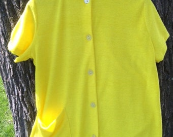 Vintage 70's button up yellow terry cloth shirt, Harbor Casuals, beach cover-up, size L