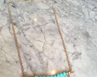 Light Blue Gemstone Necklace Bead Bar, Gold Bar Necklace