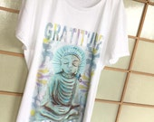 Buddha GRATITUDE - T-shirt -Yoga– cap sleeves – white cotton fabric, exclusive design, for women, girls – handmade in Hawaii