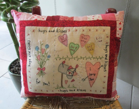 Decorative Valentine Pillows : Valentine s Day Sampler Decorative Pillow Hand