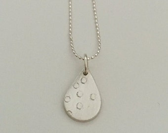 Dotted teardrop, pendant, charm, necklace, fine silver with sterling silver chain