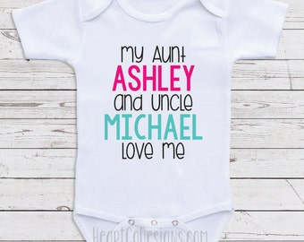 Personalized baby clothes my aunt loves me short custom baby clothes my aunt and uncle love me personalized baby clothes for negle Choice Image
