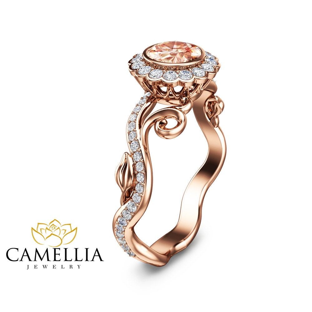 Art deco rose gold morganite ring 14k rose gold engagement for Deco maison rose gold