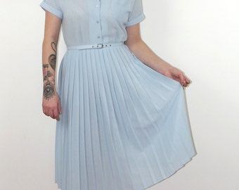 Vintage 1980s pale blue pleated midi tea dress from St Michaels, day dress, summer dress, UK size 10/12