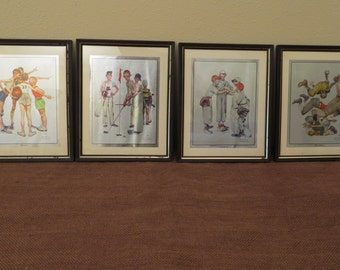 Norman Rockwell Foil Prints Four Seasons in Sports