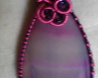 PINK BANDED AGATE wire wrapped pendant