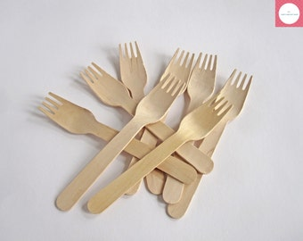 Wooden Forks, 25 Wooden Utensils, Disposable Wooden Forks, Wooden Cutlery, Party Supplies, Biodegradable Forks